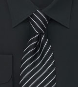 Trendy Striped Necktie in Black, Charcoal, and Silver