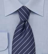 Modern Striped Tie in Persian Blue