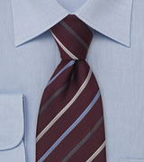 Maroon Necktie With Narrow Stripes