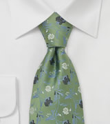 Floral Tie by Chevalier in Asparagus Green
