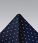 Navy and Pink Polka Dot Pocket Square