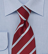 Cherry Red Striped Mens Tie