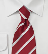 Red & White Striped Silk Tie in XL Length