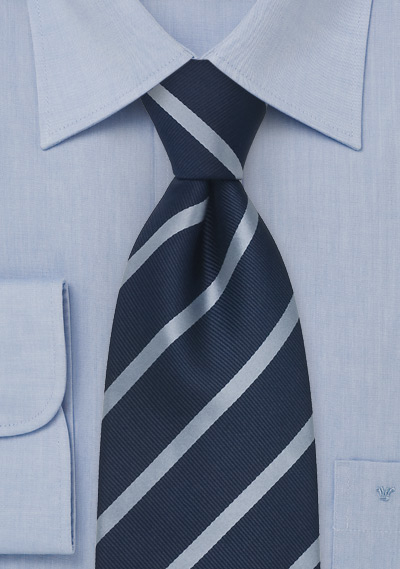 Navy & Light Blue Striped Necktie