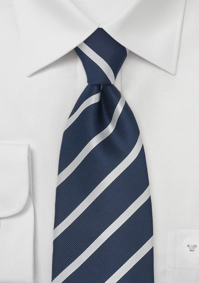 Extra Long Tie in Navy Blue and Silver