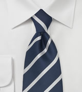 Navy Blue & Silver Striped Silk Tie