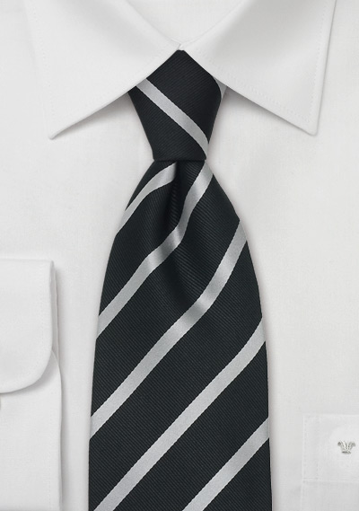 Black & Silver Striped Necktie in XL Length