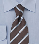 Brown and Blue Striped Tie in XL Size