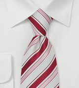 Extra Long Tie in White, Rose, and Hot Pink