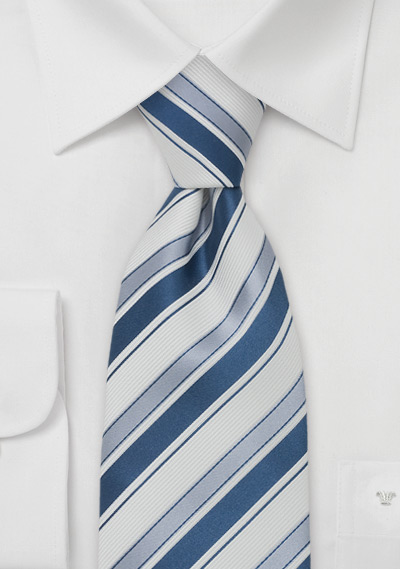 Striped Silk Tie in Light Blue, Sapphire, and White