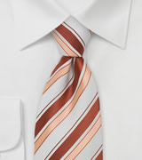 Trendy Striped Necktie in Coral and White