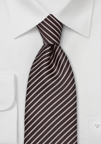 Coffee Brown and Tan Striped Tie