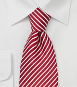 Red and White Striped Mens Silk Tie