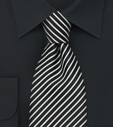 Narrow Striped Tie in Black White