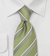 Tea-Green Striped Tie by Cavallieri