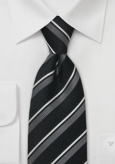 Italian Designer Tie in Black and Silver