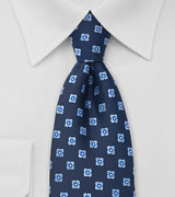 Navy Blue Floral Pattern Tie