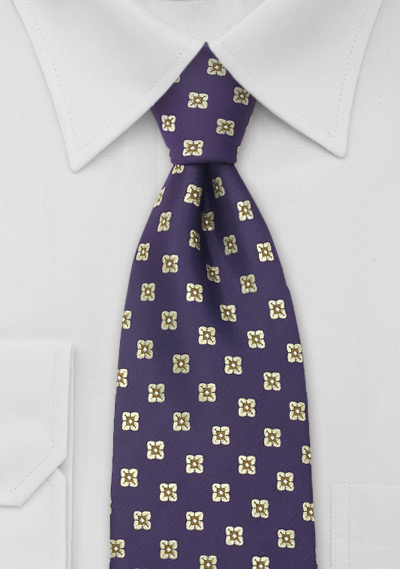 Purple Necktie With Golden Flowers
