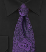 Mens Tie in Purple and Black With Paisley Pattern