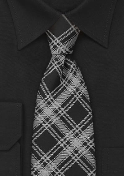 Black and Silver Checkered Necktie