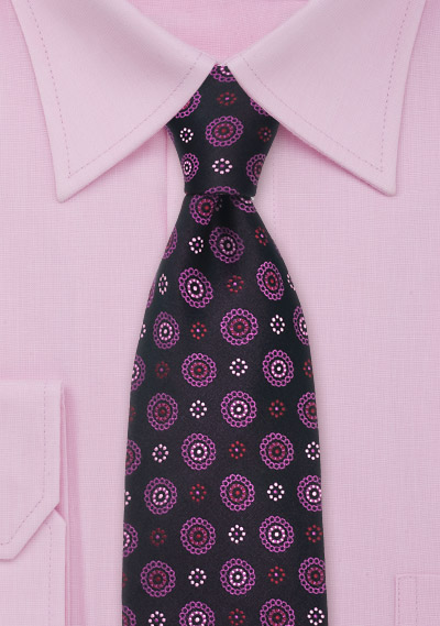 Hot Pink and Purple Silk Tie by Chevalier