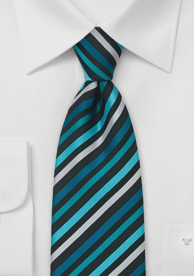 Striped Necktie in Turquoise, Black, and Silver