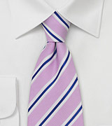 Rose, Navy, White Striped Tie