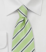 Striped Tie in Keylime Green