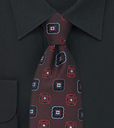 Retro Floral Tie in Burgundy-Red