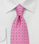 Pink Silk Tie by Chevalier With Shamrock Pattern
