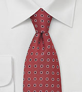 Venetian-Red Silk Tie by Designer Chevalier