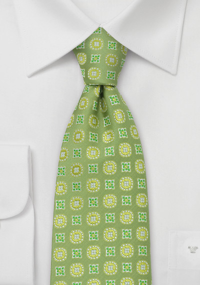 Lime Green Floral Tie by Chevalier