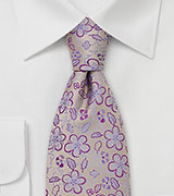 Gold and Purple Floral Silk Tie