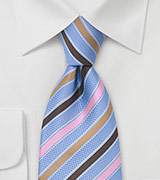 Light Blue, Pink, and Brown Striped Designer Tie