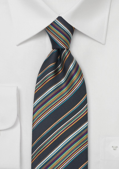 Modern Italian Striped Silk Tie