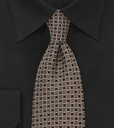 Brown and Black Designer Silk Tie