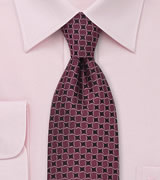 Patterned Tie in Bordeaux Red