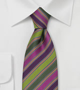 Silk Tie by Cavallieri in Green, Pink, Orange, Gray