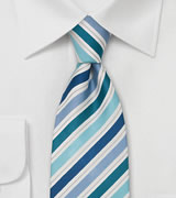 Striped XL Length Tie in Teal, Aqua, and Blue