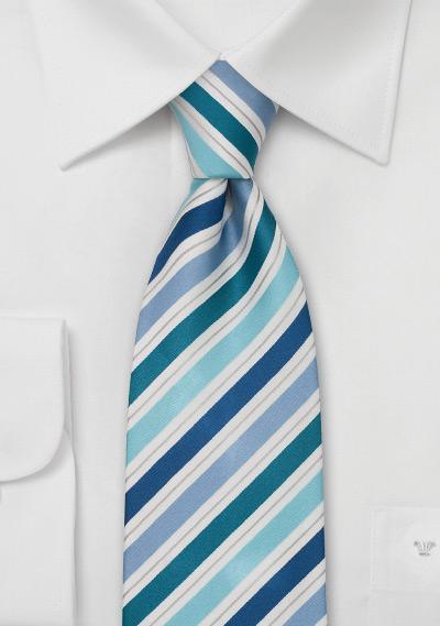 designer silk ties 1afi  Striped Silk Tie in Teal, Aqua, and Blue 禄