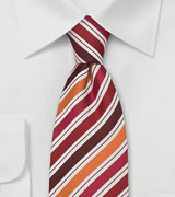Striped Silk Tie in Orange, White, Red, Burgundy