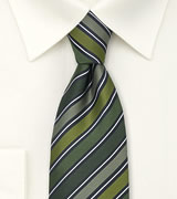 Modern Striped Tie in Olive, Sage, and Hunter-Green
