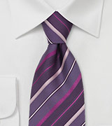 Striped Silk Tie in Lavender, Pink, Purple