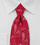 Paisley Extra Long Tie in Red White