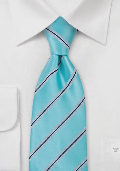 aqua blue striped mens tie