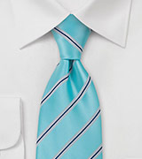 Aqua Blue Striped Mens Tie