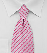 Mens Neck Tie in Hot Pink and White