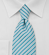 XL Tie in White and Aquamarine