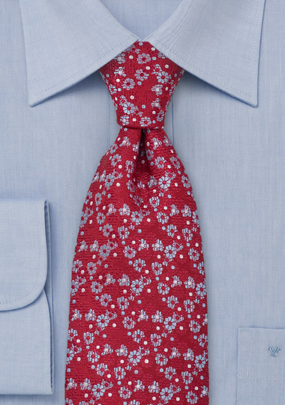 Floral Silk Tie in Red Light Blue