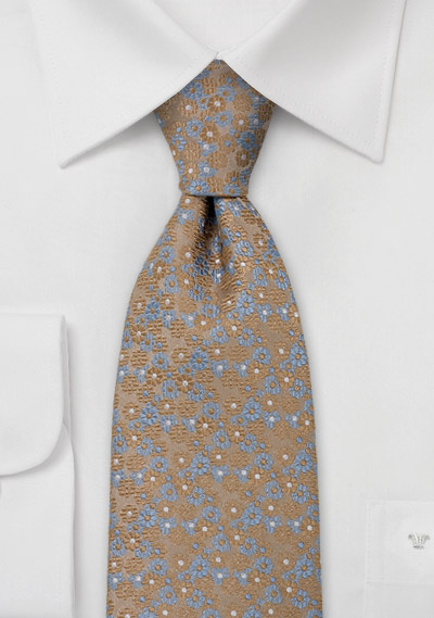 Bronse Gold Tie with Blue Flowers